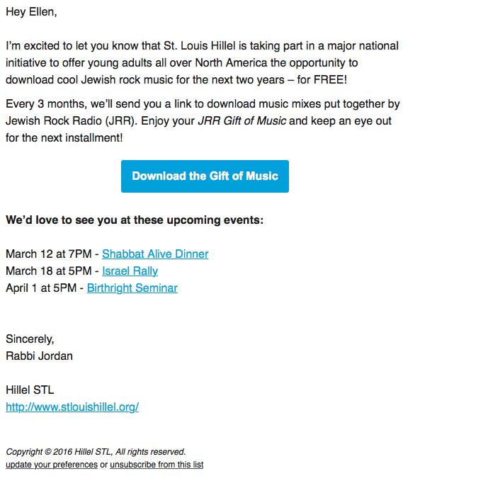 email screenshot Gift of Music